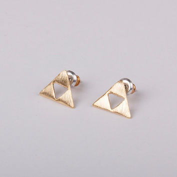 triforce earrings tri force triangle stud gold silver post gift for her women earrings boho chic minimalist silver stud