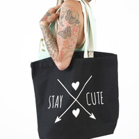"""""""Stay Cute"""" Jumbo Tote by Stay Cute Clothing (Black)"""