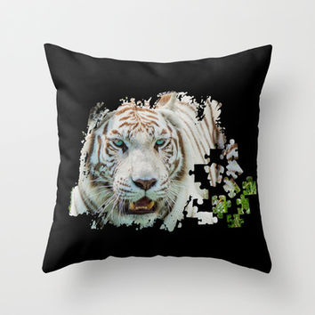 TIGER PUZZLE Throw Pillow by Catspaws