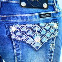 MISS ME SEQUIN SCALE BOOTCUT JEANS