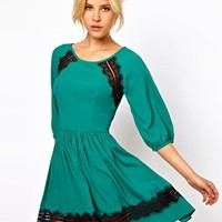 ASOS Skater Dress With Lace Trim