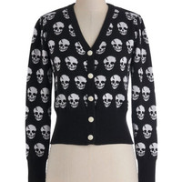 ModCloth Steampunk Long Sleeve Button Down Skulls in Session Cardigan in Black
