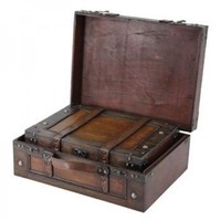 Old Style Suitcase/Decorative Box with Straps, Set of 2