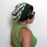 Slouch Hat  Forest Stripes  CLEARANCE by KnotaGeek on Etsy
