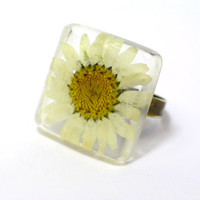 Daisy Resin Ring Modern jewelry Floral by GoldFingerBarcelona