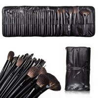 MelodySusie Natural Hair Made 32 Count Super Professional Studio Brush Set with Leather Pouch