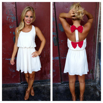 Cream Dress with Maroon Double Bow Back