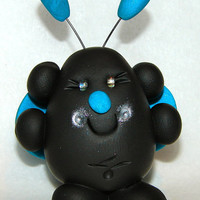 Spring Bright BLUE CHUBBY LADYBUG Polymer Clay by KatersAcres