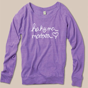 Hakuna Matata Eco Slouchy Long Sleeve Womens Sweatshirt
