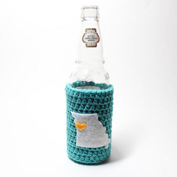 Missouri Beer Koozie, Crochet State Accessories, Can Cozy, Coffee Cozy, Bottle Koozie, Drink Holder