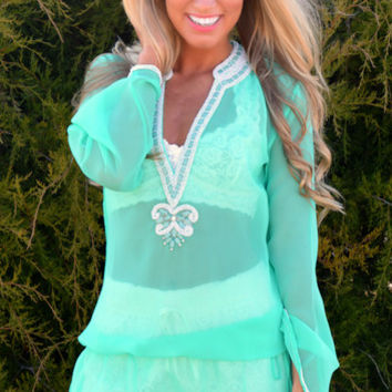 Mint HAUTE In The Heat Silk Cover-Up