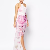 VLabel London Bloomsbury High Neck Maxi Dress With Wrap Detail