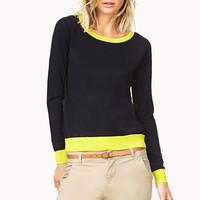 FOREVER 21 Contrast Round Neck Sweater