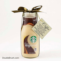 Eco Friendly Gift Starbucks Coffee Candle Gift Coffee Lovers Frappuccino Coffee for her Recycled Bottle Candle Jar Green Sweet Coffee House