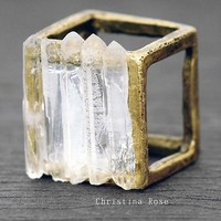 CRYSTAL CAGE RAW QUARTZ RING Distressed Vintage Gold size 6.5