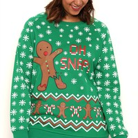 Plus Size Long Sleeve French Terry Top with Oh Snap Gingerbread Screen