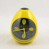 POP 1960s BLESSING yellow lotus EGG alarm clock W by somelikeus