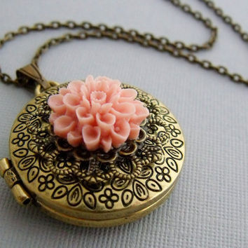 Gold Locket Necklace With Vintage Style by pinkingedgedesigns