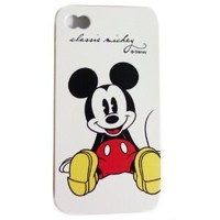 Disney ® Mickey Mouse Flexible TPU SKIN Protector Case Cover (Classic Mickey) for Apple iPhone 4S / 4G / 4 (Fits any carrier AT&T, VERIZON AND SPRINT) + Free WirelessGeeks247 Metallic Detachable Touch Screen STYLUS PEN with Anti Dust Plug