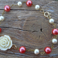 White/ Ivory Rose cabochon wire wrapped glass pearl bracelet - coral - ivory - gold toned - pearls - flower - floral - OOAK - christmas