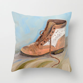Shoe made for walking Throw Pillow by Jos Eertink
