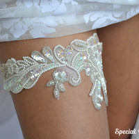 Wedding Garter White - Ivory Bridal Garter Pearl Garter Handknitted with Sequins - Handmade