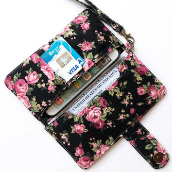FLORAL IPHONE 6 WALLET Black Vintage Flower Card Holder Pouch Sleeve Bag Purse Samsung Galaxy S3 S4 S5 Note 2 3 4 iPhone 4 4s 5 5s 5c 6