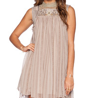 Free People Penny Georgette Babylon Dress in Taupe