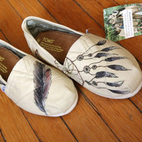 Custom TOMS Shoes  Dream Catcher and Feather on Natural by shandke