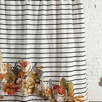 Striped Cabbage Rose Shower Curtain- Black/white One