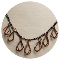 Dripping with diamonds necklace, brass diamond cages on long antiqued brass chain