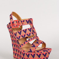 Dollhouse Geo Print Strappy Open Toe Platform Wedge