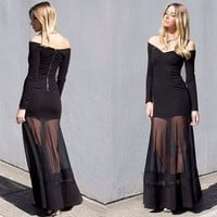 Black Mesh Splice Long Sleeved Off Shoulder Maxi Dress