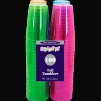 Party Essentials Hard Plastic 10-Ounce Party Cups and Tall Tumblers, Assorted Neon, 100-Count