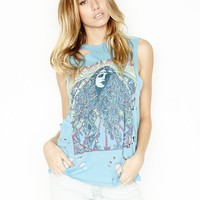 Lauren Moshi Roxanne Vintage Muscle Tee in Blue Chill