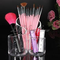 Clear Acrylic Cylindrical Makeup Cosmetic Holder Case Brush Organizer Storage
