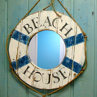 Mirror Wall Art Beach House Life Preserver Ring Wall Mirror in Weathered White
