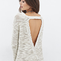 LOVE 21 Metallic-Threaded Cutout-Back Sweater