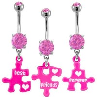 Pink Puzzle piece Best Friends Forever Best Friend dangle set Belly Ring - 316L Implant Grade Surgical Steel 14g 14 gauge- Sold as a Set of 3