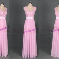 2014 long pink chiffon and lace prom dresses,chic women gowns for holiday party,cheap elegant bridesmaid dress under 150.