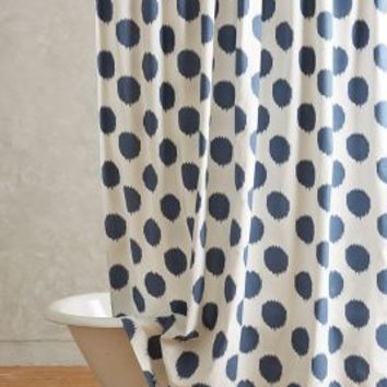 Ikat Dot Shower Curtain by Anthropologie Navy One Size Shower Curtains