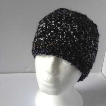 Black Sparkle Beanie, Ladies Black and Silver Hat, Super soft Metallic Crochet Hat, Girls Thick Black Hat