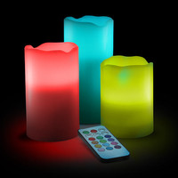 Color-Change LED Candle Set with Remote
