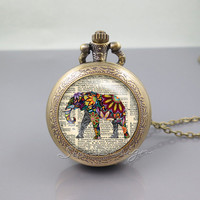 Elephant Pocket Watch Locket Necklace,colorful elephant on Dictionary page,vintage pendant Pocket Watch Locket Necklace