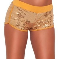 Hot from Hollywood Women's Micro Mini Sequins Lounge Elastic Waist Bootie Shorts