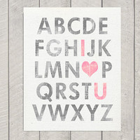 Nursery Alphabet Art Print  11x14 by DeliveredByDanielle on Etsy
