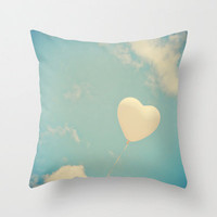 Pillow Cover White Pillow Heart Pillow Vintage Pillow Turquoise Pillow Decoration 16 x 16 or 18 x 18
