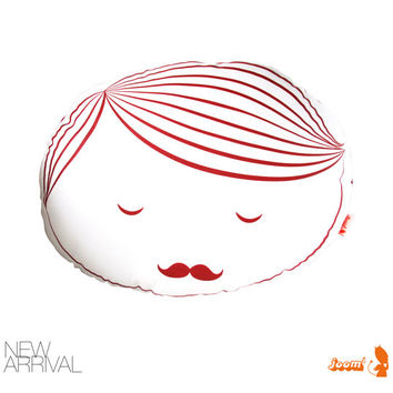 Limited Edition Guy Face Plush Pillow in Red Print