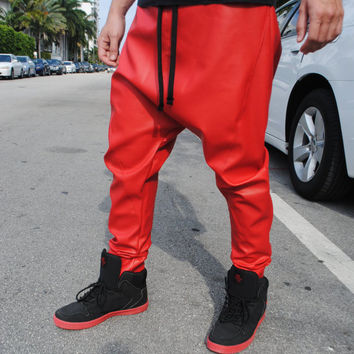 Handmade Red Faux Leather Drop - Harem Crotch Pants for Men and Women