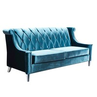 Armen Living Barrister Velvet Sofa - Blue With Crystal Buttons